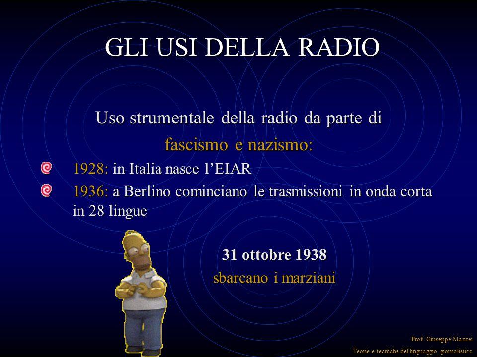 GLI USI DELLA RADIO I primi usi della radio avevano fini prevalentemente sperimentali: si volevano potenziare le comunicazioni marittime e transoceani