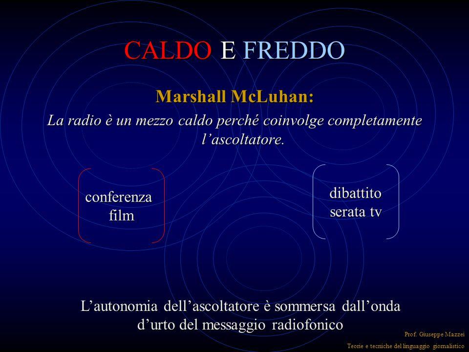 CALDO E FREDDO Marshall McLuhan: La radio è un mezzo caldo perché coinvolge completamente l'ascoltatore.