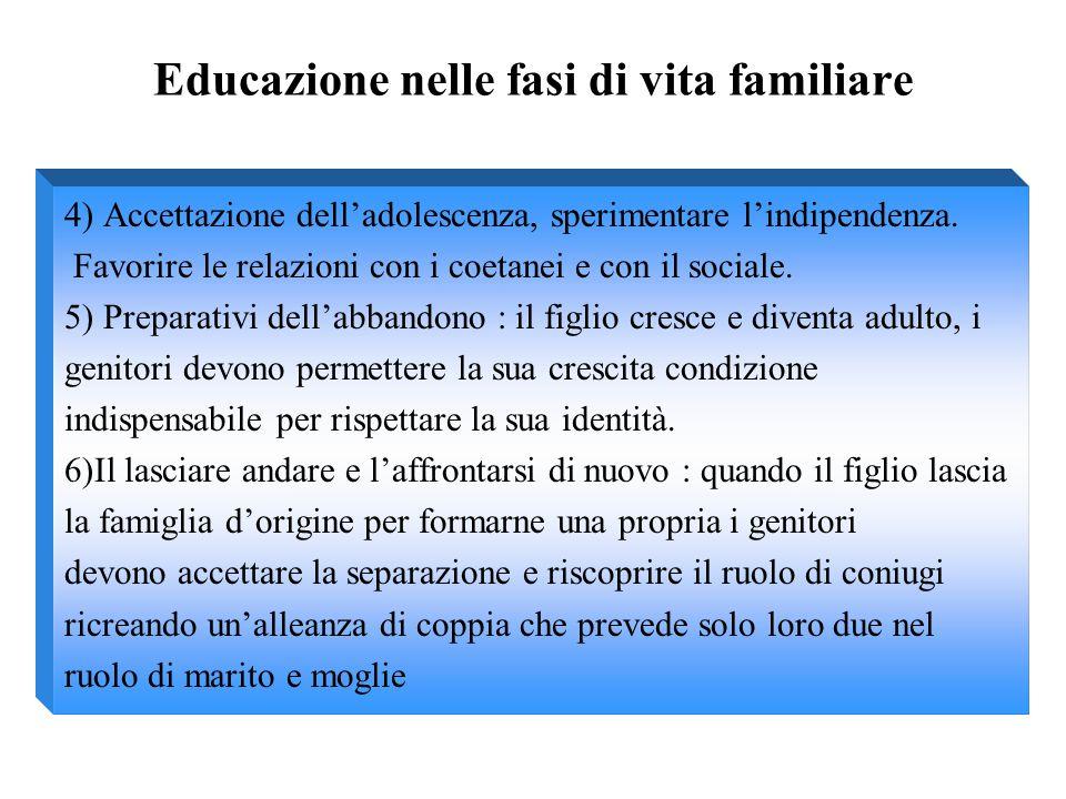 Educazione nelle fasi di vita familiare 4) Accettazione dell'adolescenza, sperimentare l'indipendenza. Favorire le relazioni con i coetanei e con il s