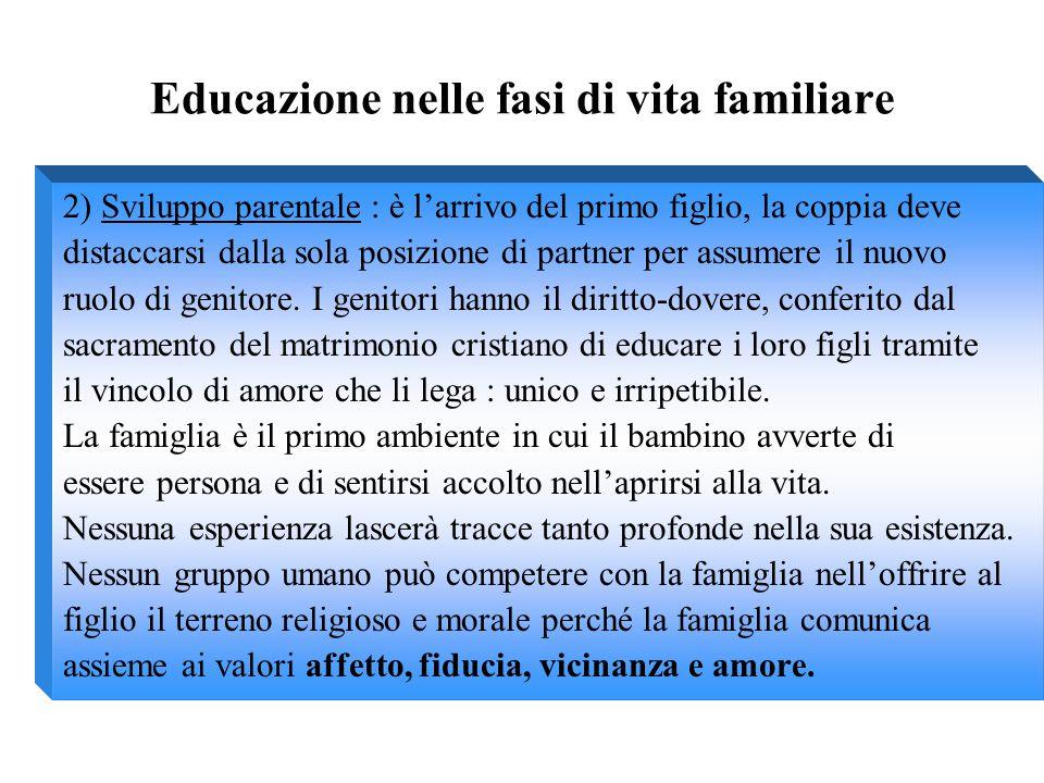 Educazione nelle fasi di vita familiare 2) Sviluppo parentale : è l'arrivo del primo figlio, la coppia deve distaccarsi dalla sola posizione di partne
