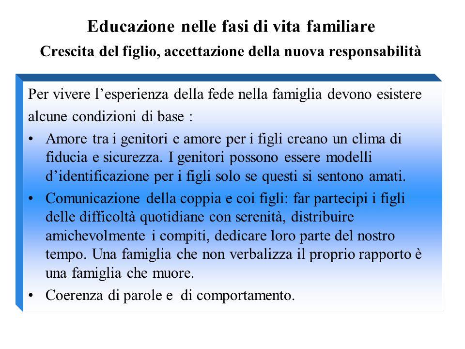 Educazione nelle fasi di vita familiare Crescita del figlio, accettazione della nuova responsabilità Per vivere l'esperienza della fede nella famiglia