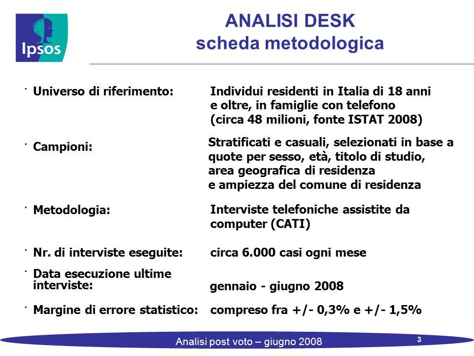 3 Analisi post voto – giugno 2008 ANALISI DESK scheda metodologica · Universo di riferimento: Individui residenti in Italia di 18 anni e oltre, in fam