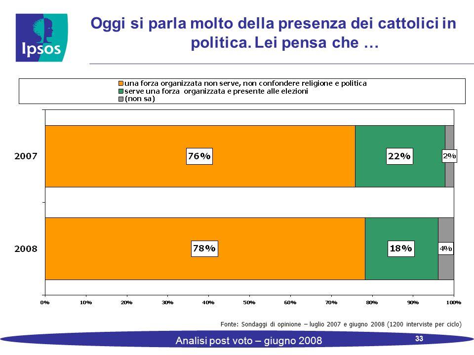 33 Analisi post voto – giugno 2008 Oggi si parla molto della presenza dei cattolici in politica. Lei pensa che … Fonte: Sondaggi di opinione – luglio