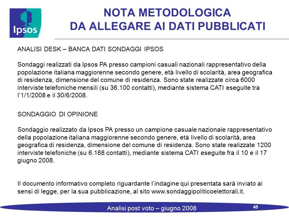 45 Analisi post voto – giugno 2008 NOTA METODOLOGICA DA ALLEGARE AI DATI PUBBLICATI ANALISI DESK – BANCA DATI SONDAGGI IPSOS Sondaggi realizzati da Ip