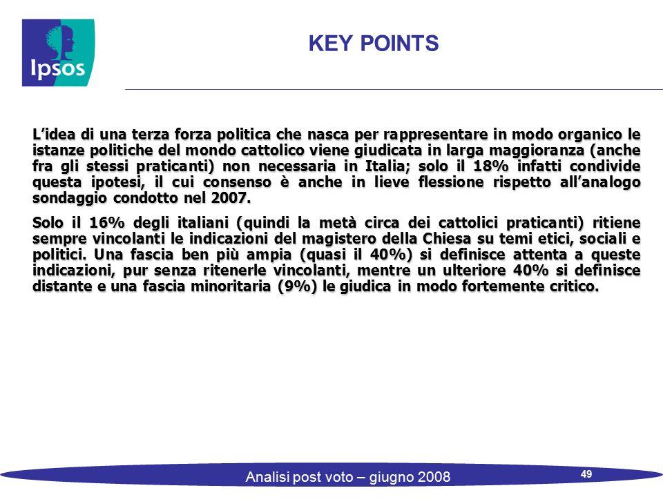49 Analisi post voto – giugno 2008 KEY POINTS L'idea di una terza forza politica che nasca per rappresentare in modo organico le istanze politiche del