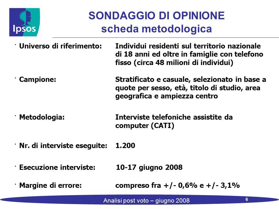 6 Analisi post voto – giugno 2008 SONDAGGIO DI OPINIONE scheda metodologica · Universo di riferimento: Individui residenti sul territorio nazionale di