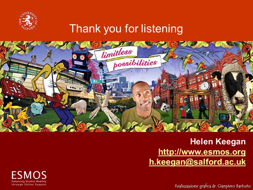 Thank you for listening Helen Keegan http://www.esmos.org h.keegan@salford.ac.uk Realizzazione grafica dr.