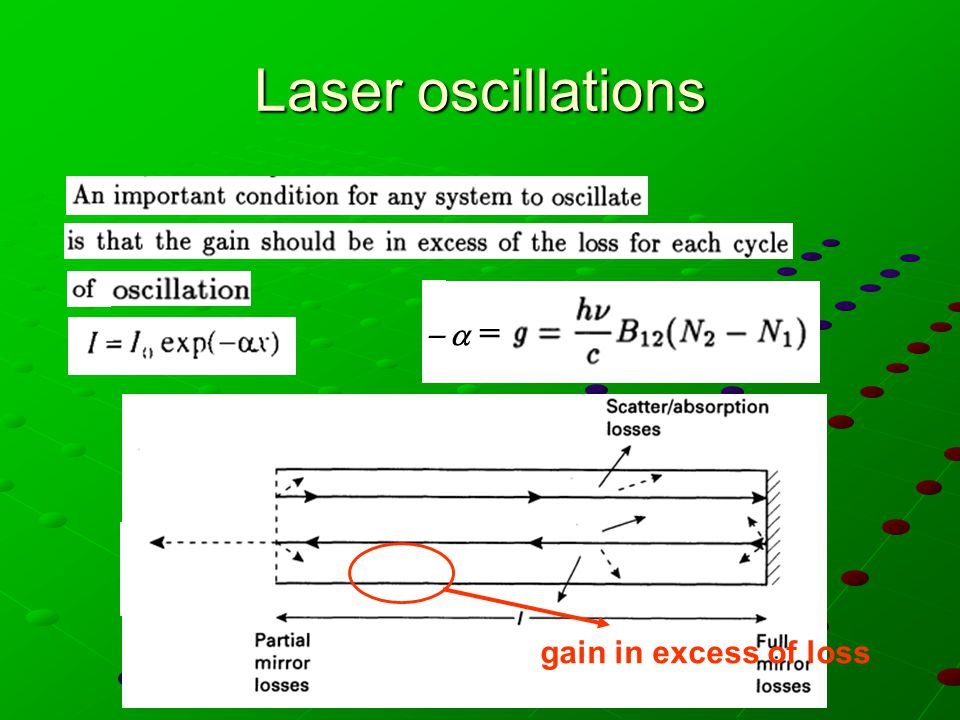 Laser oscillations  = = gain in excess of loss