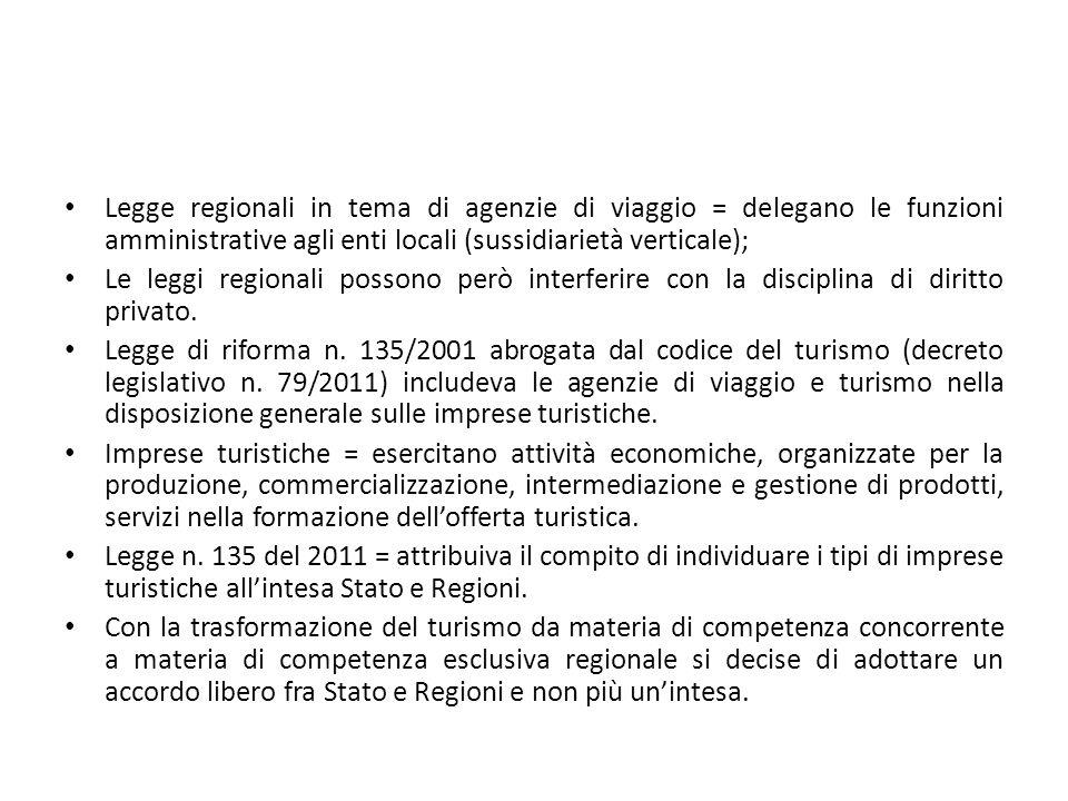 Legge regionali in tema di agenzie di viaggio = delegano le funzioni amministrative agli enti locali (sussidiarietà verticale); Le leggi regionali pos