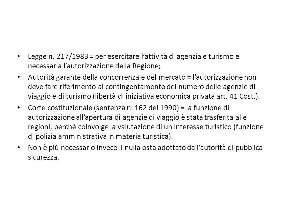Legge n. 217/1983 = per esercitare l'attività di agenzia e turismo è necessaria l'autorizzazione della Regione; Autorità garante della concorrenza e d