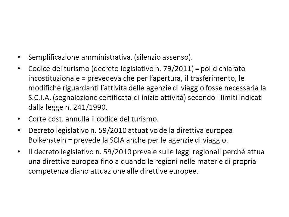 Semplificazione amministrativa. (silenzio assenso). Codice del turismo (decreto legislativo n. 79/2011) = poi dichiarato incostituzionale = prevedeva