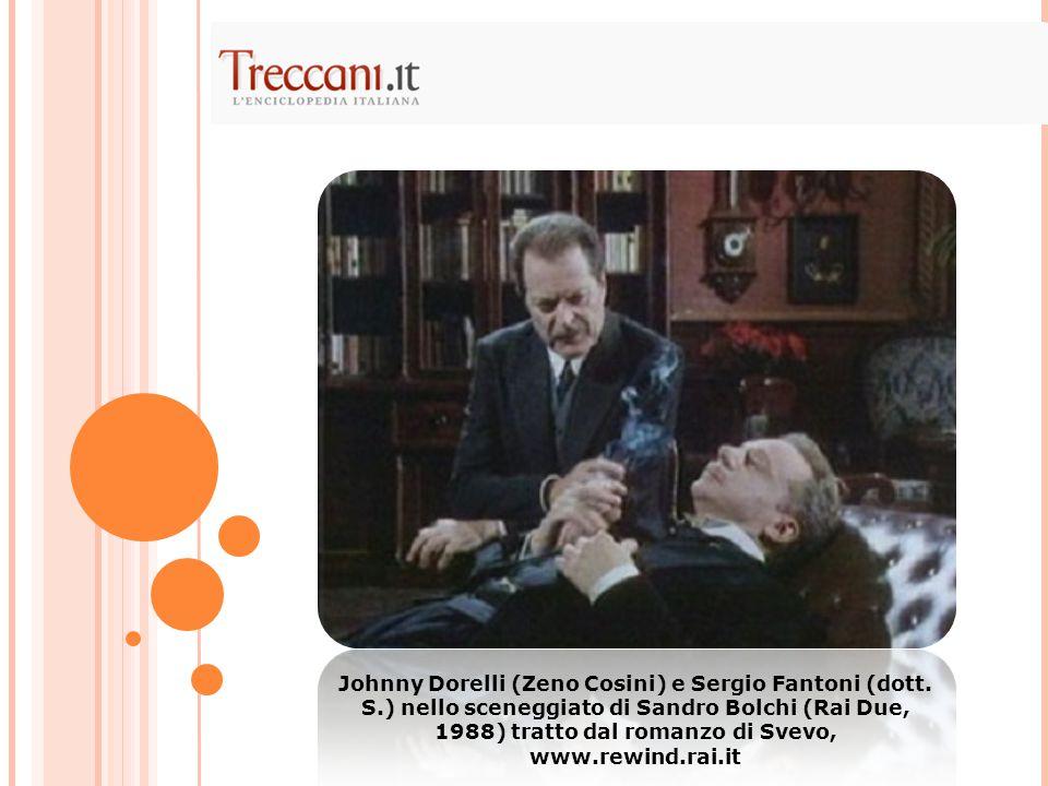 Johnny Dorelli (Zeno Cosini) e Sergio Fantoni (dott. S.) nello sceneggiato di Sandro Bolchi (Rai Due, 1988) tratto dal romanzo di Svevo, www.rewind.ra