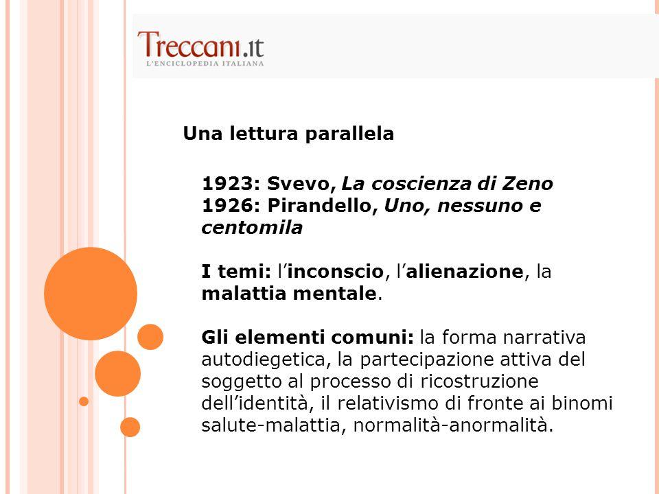 1923: Svevo, La coscienza di Zeno 1926: Pirandello, Uno, nessuno e centomila I temi: l'inconscio, l'alienazione, la malattia mentale. Gli elementi com