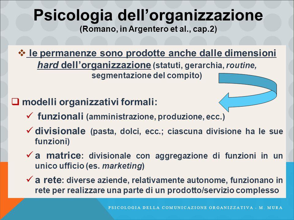  le permanenze sono prodotte anche dalle dimensioni hard dell'organizzazione (statuti, gerarchia, routine, segmentazione del compito)  modelli organ