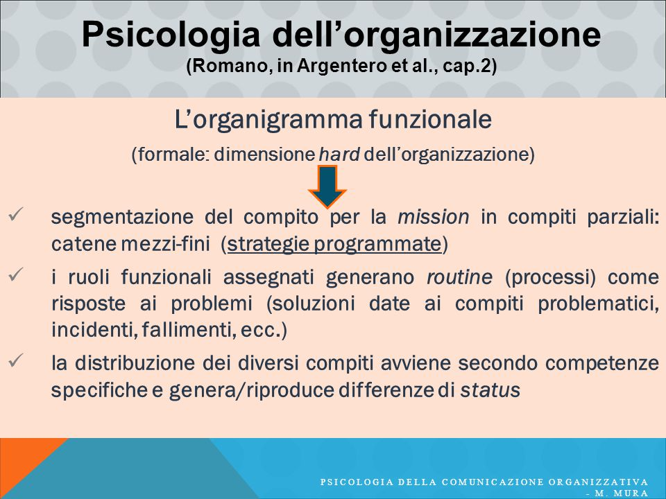 L'organigramma funzionale (formale: dimensione hard dell'organizzazione) segmentazione del compito per la mission in compiti parziali: catene mezzi-fi