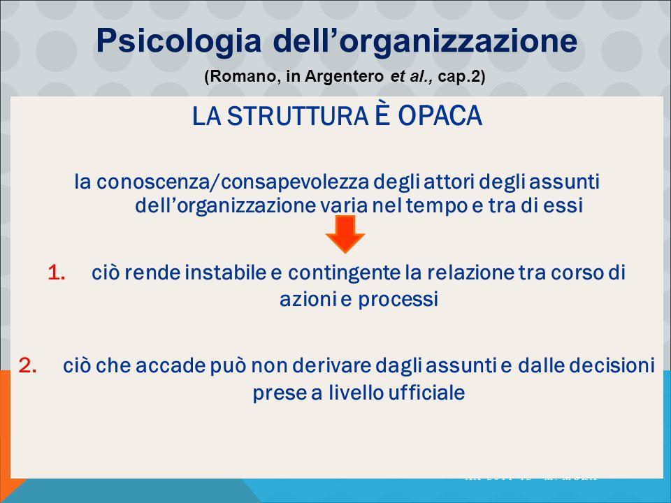 PSICOLOGIA DELLA COMUNICAZIONE ORGANIZZATIVA AA 2011-12 - M. MURA LA STRUTTURA È OPACA la conoscenza/consapevolezza degli attori degli assunti dell'or