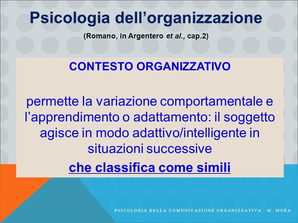 Psicologia dell'organizzazione CONTESTO ORGANIZZATIVO permette la variazione comportamentale e l'apprendimento o adattamento: il soggetto agisce in modo adattivo/intelligente in situazioni successive che classifica come simili (Romano, in Argentero et al., cap.2) PSICOLOGIA DELLA COMUNICAZIONE ORGANIZZATIVA - M.