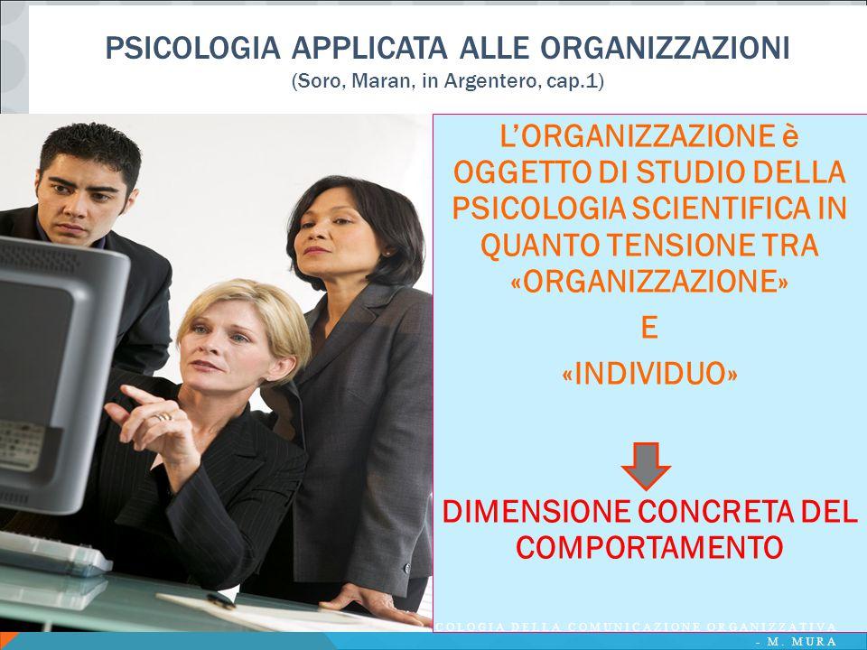 PSICOLOGIA APPLICATA ALLE ORGANIZZAZIONI (Soro, Maran, in Argentero, cap.1) L'ORGANIZZAZIONE è OGGETTO DI STUDIO DELLA PSICOLOGIA SCIENTIFICA IN QUANT
