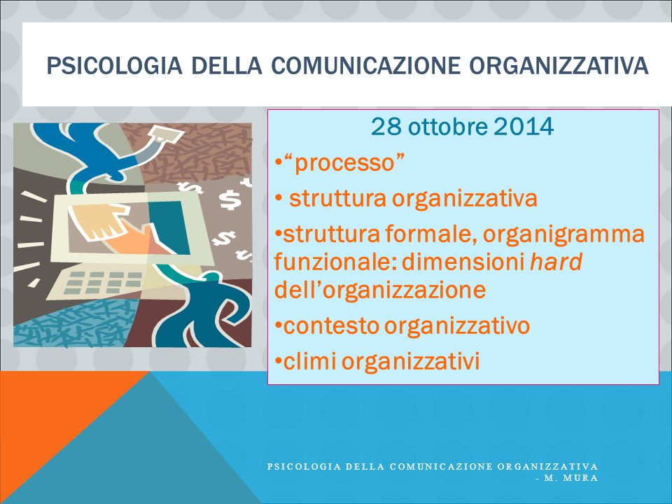 PSICOLOGIA DELLA COMUNICAZIONE ORGANIZZATIVA 28 ottobre 2014 processo struttura organizzativa struttura formale, organigramma funzionale: dimensioni hard dell'organizzazione contesto organizzativo climi organizzativi PSICOLOGIA DELLA COMUNICAZIONE ORGANIZZATIVA - M.