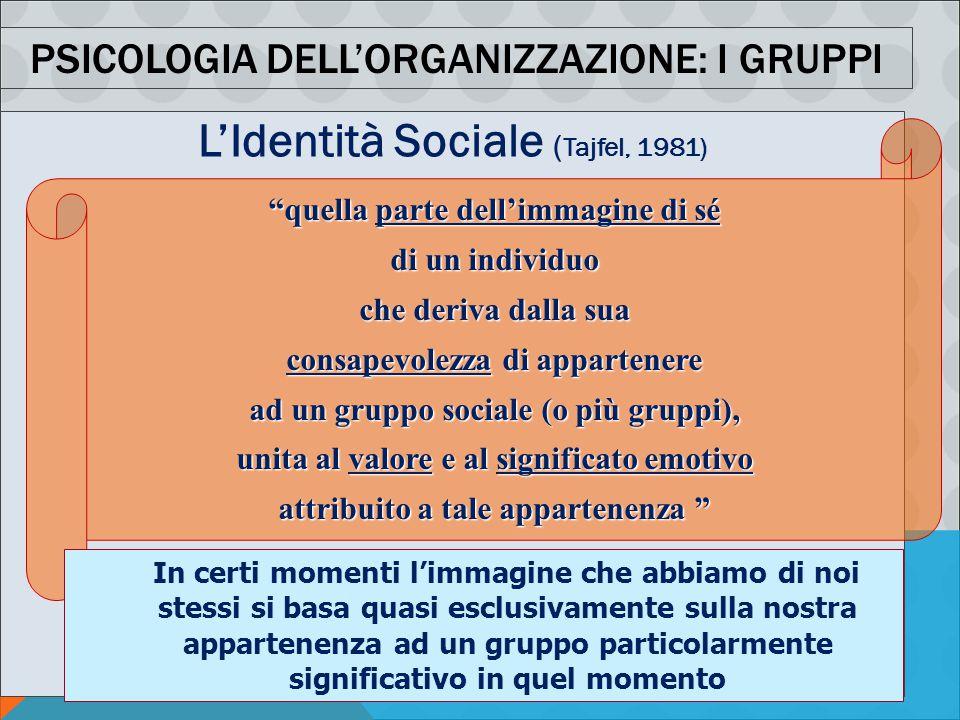 """PSICOLOGIA DELLA COMUNICAZIONE ORGANIZZATIVA AA 2011-12 - M. MURA PSICOLOGIA DELL'ORGANIZZAZIONE: I GRUPPI L'Identità Sociale ( Tajfel, 1981) """"quella"""