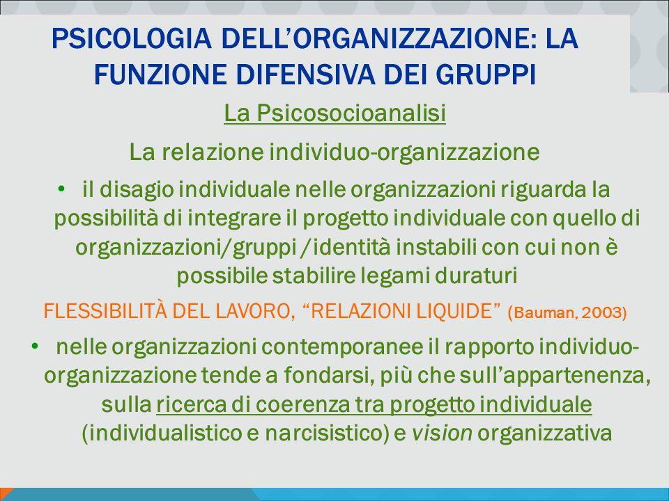 PSICOLOGIA DELLA COMUNICAZIONE ORGANIZZATIVA - M. MURA PSICOLOGIA DELL'ORGANIZZAZIONE: LA FUNZIONE DIFENSIVA DEI GRUPPI La Psicosocioanalisi La relazi