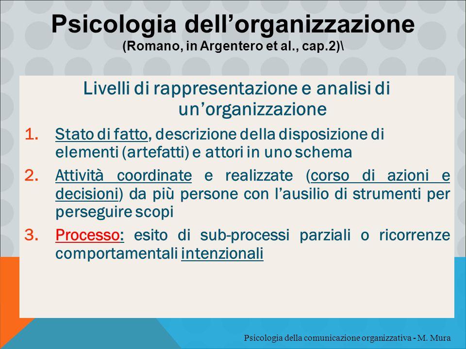 Livelli di rappresentazione e analisi di un'organizzazione 1.Stato di fatto, descrizione della disposizione di elementi (artefatti) e attori in uno sc