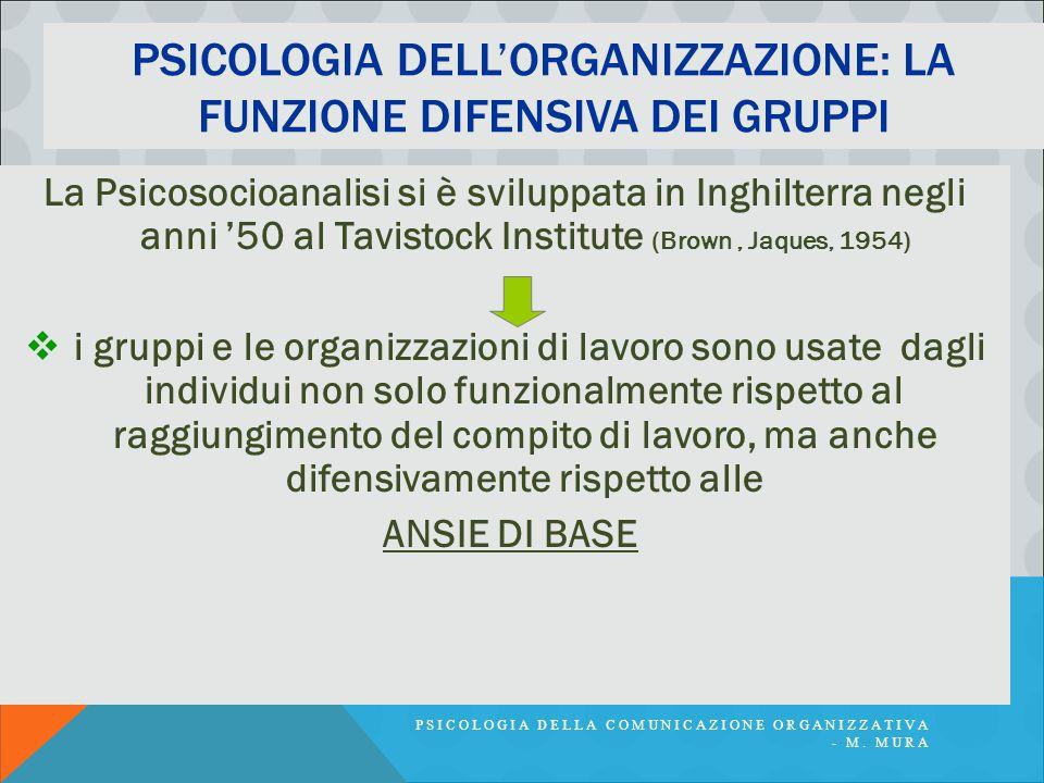 PSICOLOGIA DELLA COMUNICAZIONE ORGANIZZATIVA - M. MURA PSICOLOGIA DELL'ORGANIZZAZIONE: LA FUNZIONE DIFENSIVA DEI GRUPPI La Psicosocioanalisi si è svil