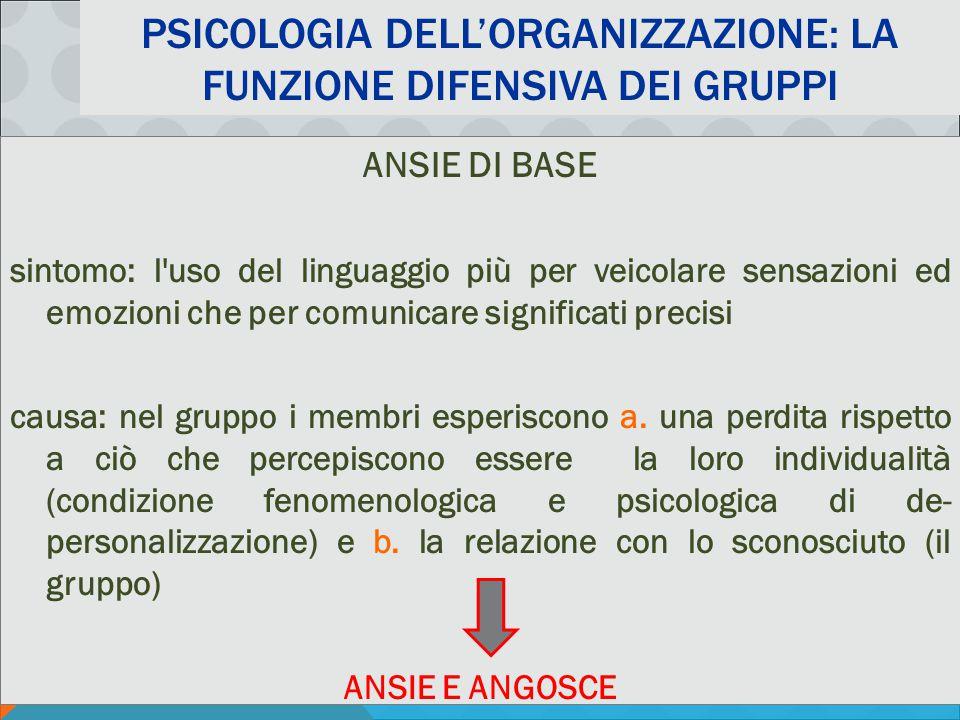 PSICOLOGIA DELLA COMUNICAZIONE ORGANIZZATIVA AA 2011-12 - M. MURA PSICOLOGIA DELL'ORGANIZZAZIONE: LA FUNZIONE DIFENSIVA DEI GRUPPI ANSIE DI BASE sinto