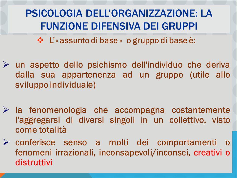 PSICOLOGIA DELLA COMUNICAZIONE ORGANIZZATIVA - M. MURA PSICOLOGIA DELL'ORGANIZZAZIONE: LA FUNZIONE DIFENSIVA DEI GRUPPI  L'« assunto di base » o grup
