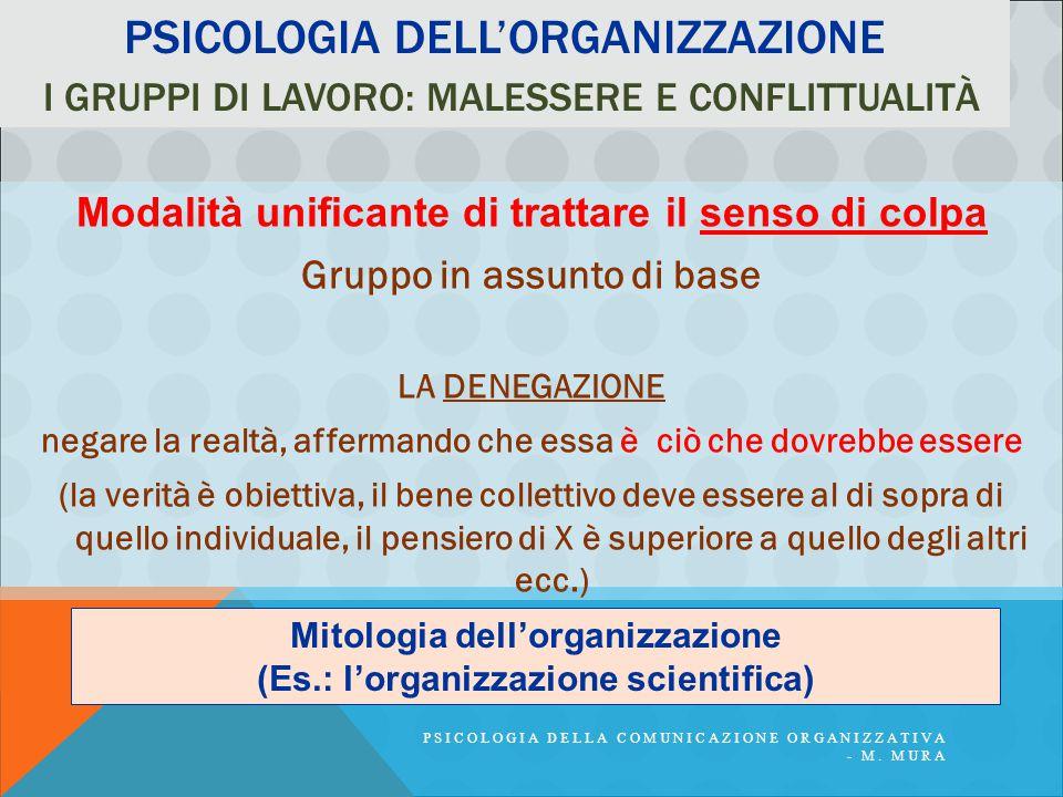 PSICOLOGIA DELLA COMUNICAZIONE ORGANIZZATIVA - M. MURA PSICOLOGIA DELL'ORGANIZZAZIONE I GRUPPI DI LAVORO: MALESSERE E CONFLITTUALITÀ Modalità unifican