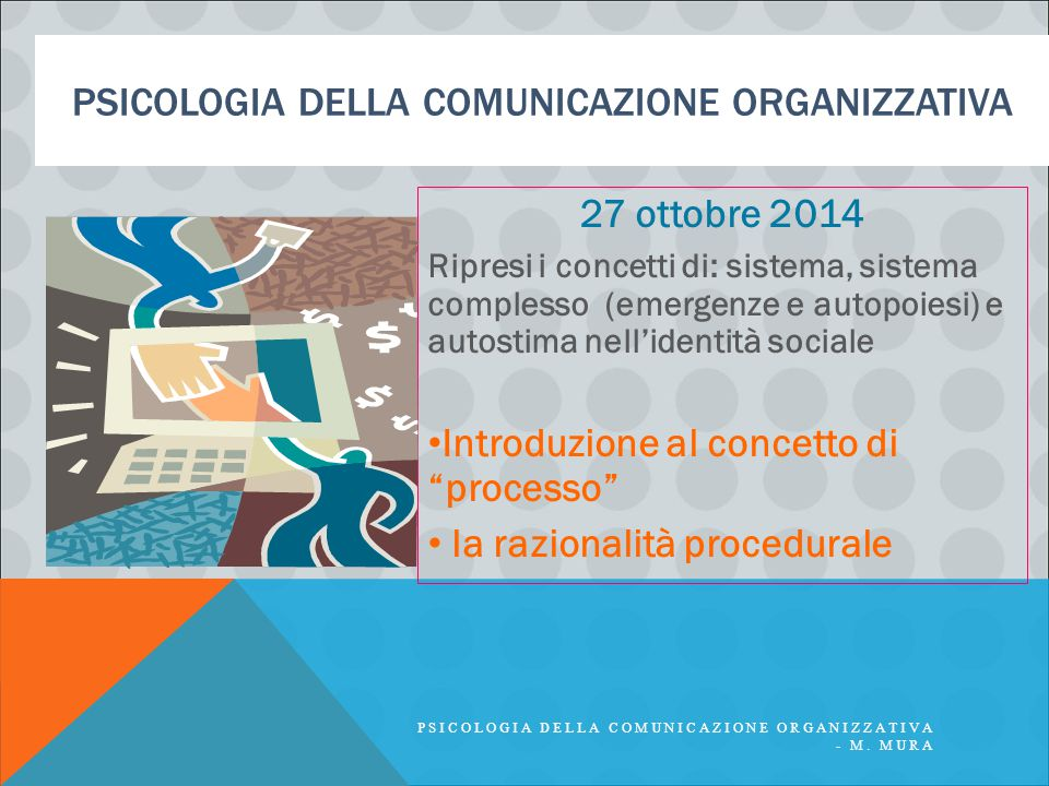 PSICOLOGIA DELLA COMUNICAZIONE ORGANIZZATIVA 27 ottobre 2014 Ripresi i concetti di: sistema, sistema complesso (emergenze e autopoiesi) e autostima ne