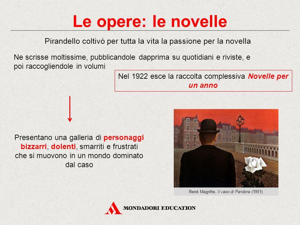 Le opere: le novelle Pirandello coltivò per tutta la vita la passione per la novella Ne scrisse moltissime, pubblicandole dapprima su quotidiani e riv