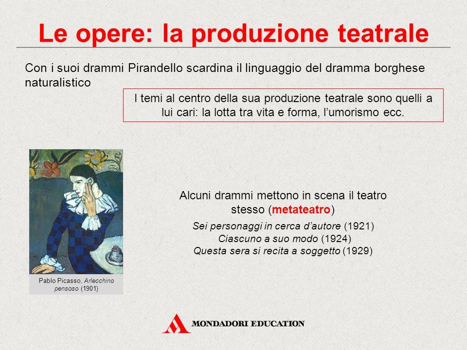 Le opere: la produzione teatrale Con i suoi drammi Pirandello scardina il linguaggio del dramma borghese naturalistico I temi al centro della sua produzione teatrale sono quelli a lui cari: la lotta tra vita e forma, l'umorismo ecc.