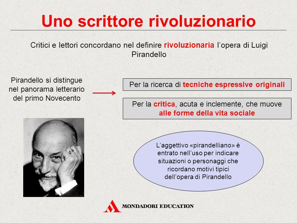 Uno scrittore rivoluzionario Critici e lettori concordano nel definire rivoluzionaria l'opera di Luigi Pirandello L'aggettivo «pirandelliano» è entrat
