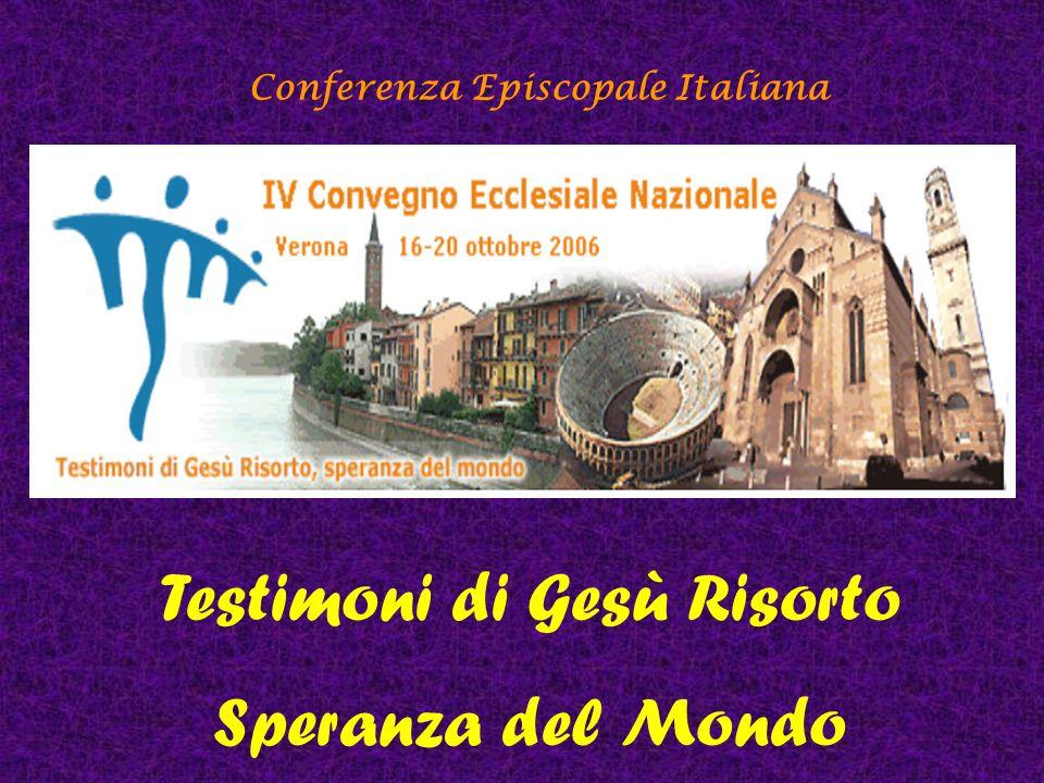 Conferenza Episcopale Italiana Lettura del logo La speranza è simboleggiata dal fatto che l'intera composizione è leggermente sbilanciata in avanti, quasi ad abbracciare con sguardo fiducioso il futuro.