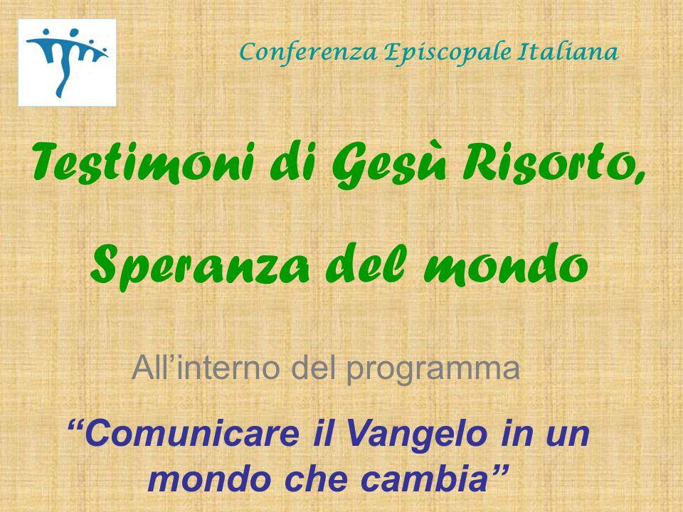 Conferenza Episcopale Italiana Lettura del logo Il disegno richiama i quattro termini che formano il titolo guida dell'incontro, Testimoni di Gesù risorto, speranza del mondo .