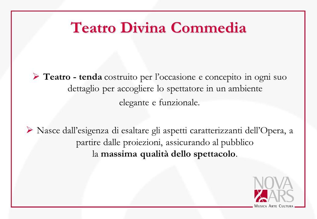 Teatro Divina Commedia  Teatro - tenda costruito per l'occasione e concepito in ogni suo dettaglio per accogliere lo spettatore in un ambiente elegan