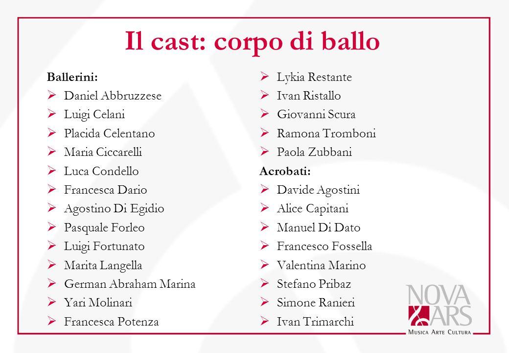 Il cast: corpo di ballo Ballerini:  Daniel Abbruzzese  Luigi Celani  Placida Celentano  Maria Ciccarelli  Luca Condello  Francesca Dario  Agost