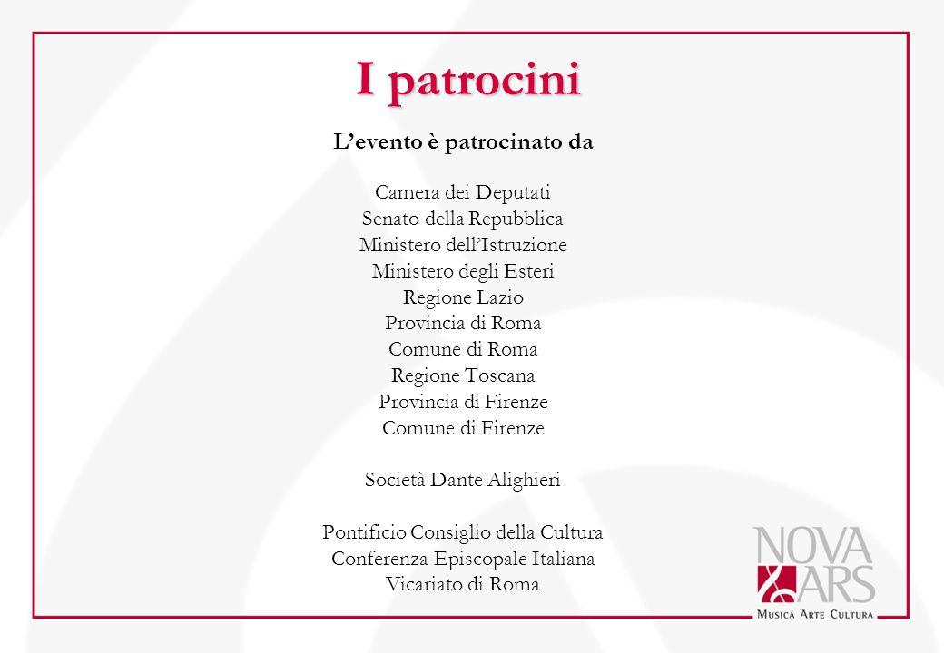 I patrocini L'evento è patrocinato da Camera dei Deputati Senato della Repubblica Ministero dell'Istruzione Ministero degli Esteri Regione Lazio Provi