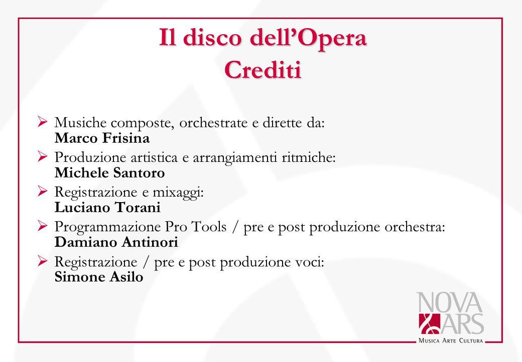Il disco dell'Opera Crediti  Musiche composte, orchestrate e dirette da: Marco Frisina  Produzione artistica e arrangiamenti ritmiche: Michele Santo