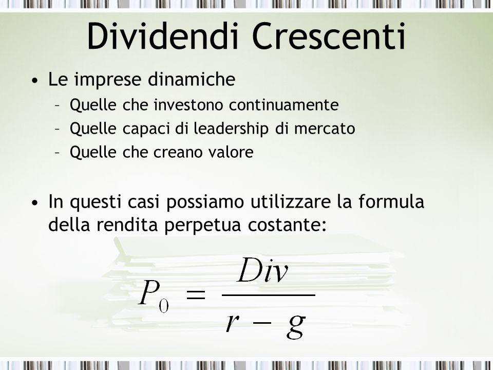 Dividendi Crescenti Le imprese dinamiche –Quelle che investono continuamente –Quelle capaci di leadership di mercato –Quelle che creano valore In ques