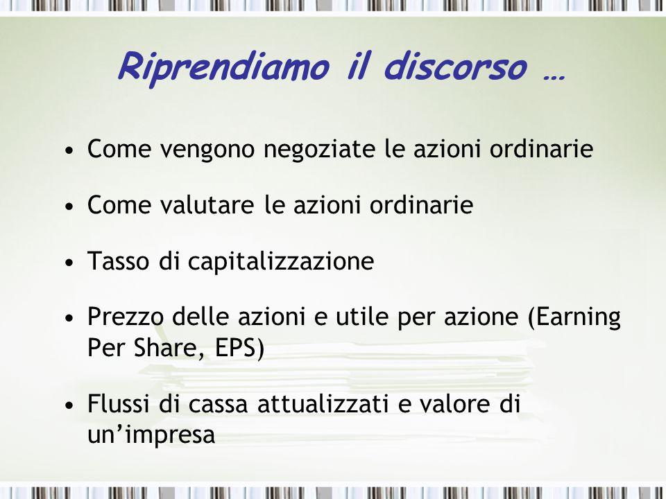 Riprendiamo il discorso … Come vengono negoziate le azioni ordinarie Come valutare le azioni ordinarie Tasso di capitalizzazione Prezzo delle azioni e