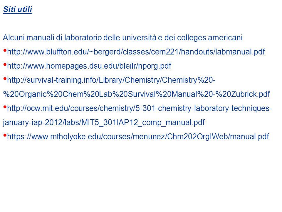 Siti utili Alcuni manuali di laboratorio delle università e dei colleges americani http://www.bluffton.edu/~bergerd/classes/cem221/handouts/labmanual.