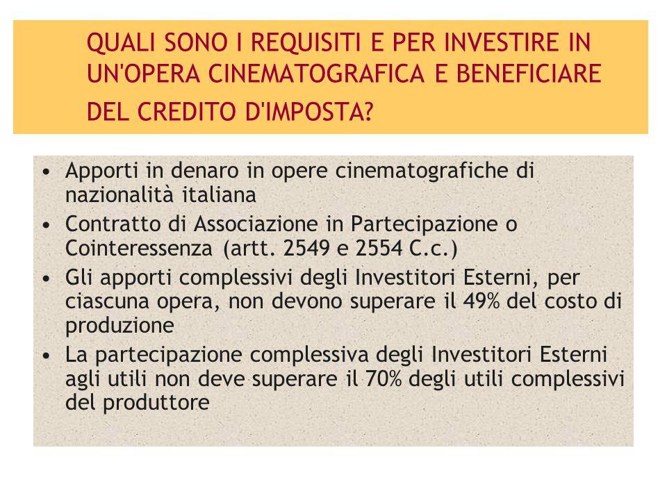 QUALI SONO I REQUISITI E PER INVESTIRE IN UN OPERA CINEMATOGRAFICA E BENEFICIARE DEL CREDITO D IMPOSTA.