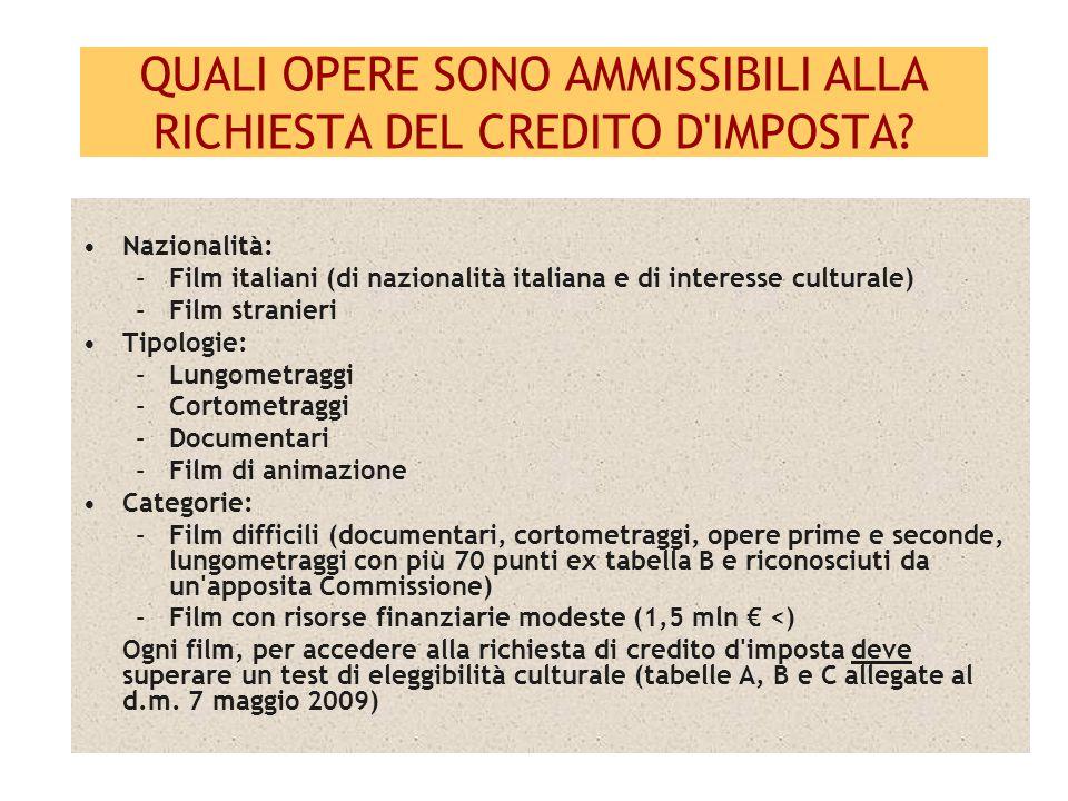 IL TAX CREDIT ALLA PRODUZIONE DI FILM ITALIANI Quota tax credit: 15% da calcolarsi sul costo complessivo di produzione a copia campione , escluse spese di distribuzione e producer fee; spese generali max 7,5% e spese personale di produzione max 25% (tax credit max annuo 3,5 mln€) 80% del credito (ovvero 12% del costo complessivo) da spendersi in Italia Intensità d aiuto massima: 50% del costo complessivo di produzione, 80% nel caso di film difficili o con risorse modeste Obbligo di certificazione dei costi sostenuti