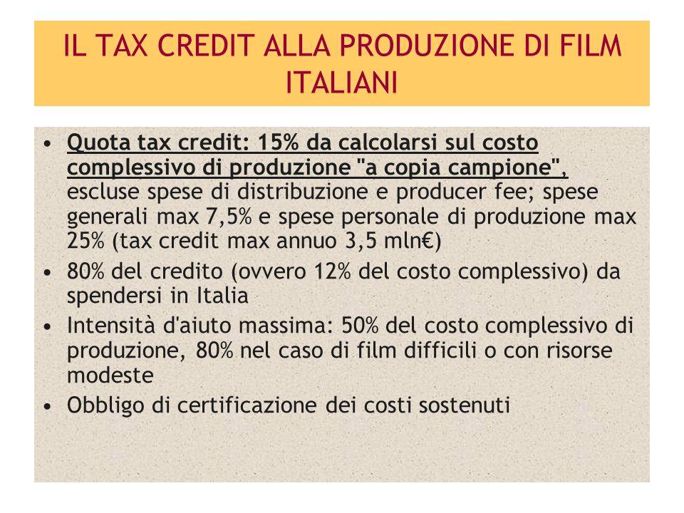 IL TAX CREDIT ALLA PRODUZIONE DI FILM STRANIERI Spetta alla Produzione Esecutiva Italiana/Service Quota tax credit: 25% da calcolarsi su spese Italiane che non eccedano il 60% del costo totale del film (tax credit max per film € 5mln) Sono eleggibili spese sostenute in altro territorio UE fino ad un ammontare massimo del 30% del costo totale del film Obbligo di certificazione dei costi sostenuti