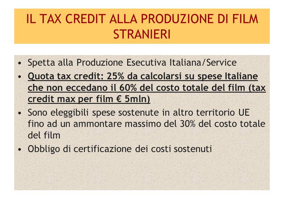 LE COPRODUZIONI INTERNAZIONALI Il film ottiene la nazionalità italiana Il produttore italiano può richiedere il credito d imposta solamente sulla quota di diritti di sua spettanza (anche nel caso in cui lo stesso sia anche Produttore Esecutivo dell intero film) Quota tax credit: 15%, da calcolarsi sul costo complessivo parametrato alla quota di diritti di spettanza del produttore italiano