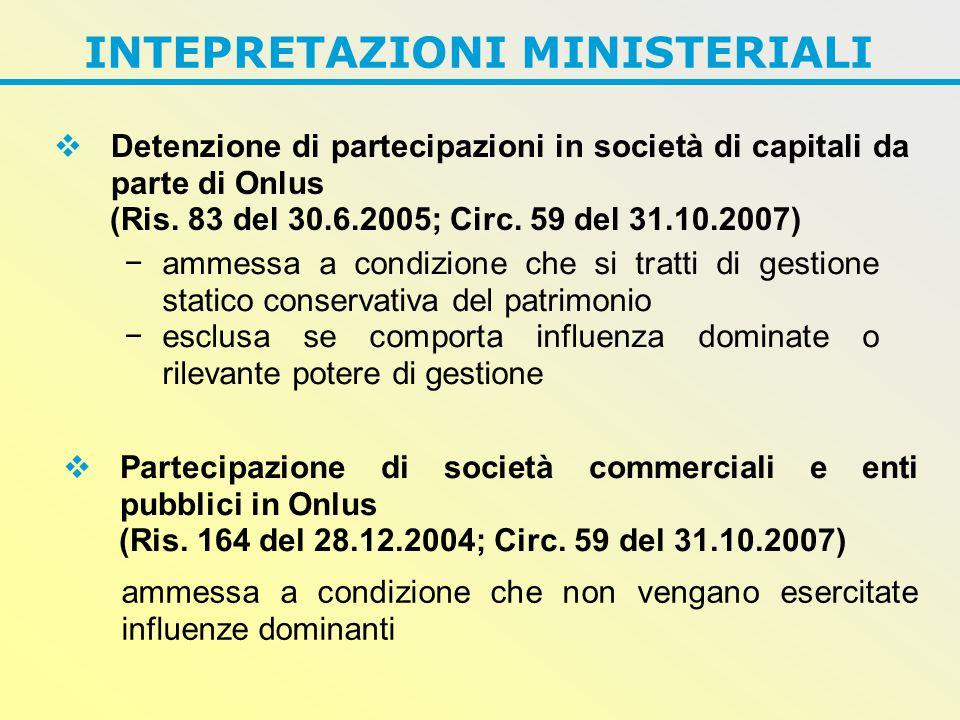 INTEPRETAZIONI MINISTERIALI  Detenzione di partecipazioni in società di capitali da parte di Onlus (Ris.