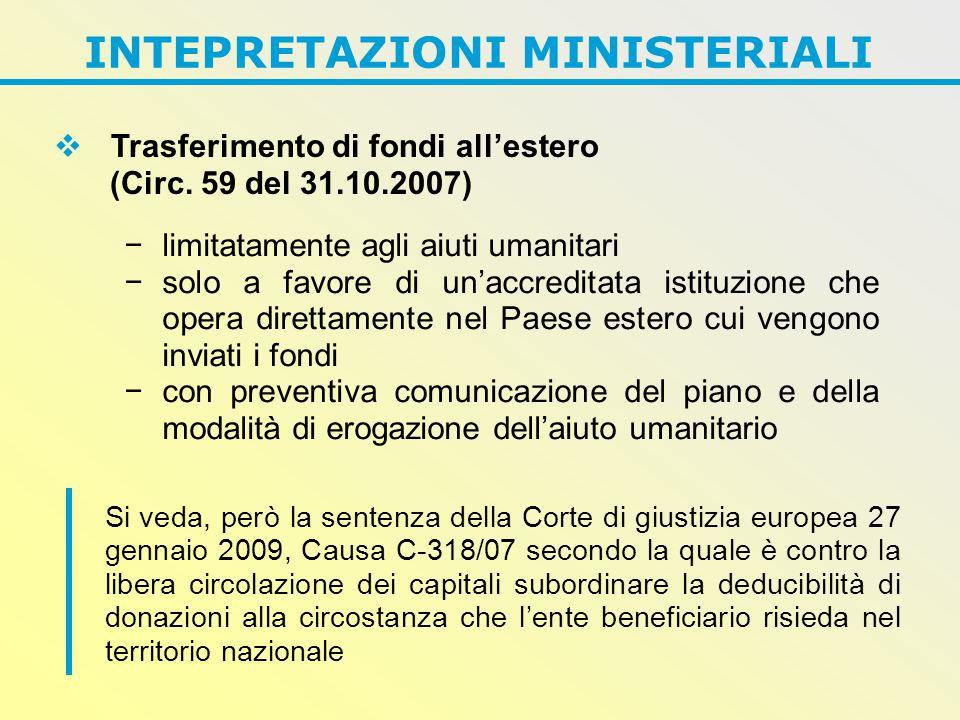 INTEPRETAZIONI MINISTERIALI  Trasferimento di fondi all'estero (Circ.