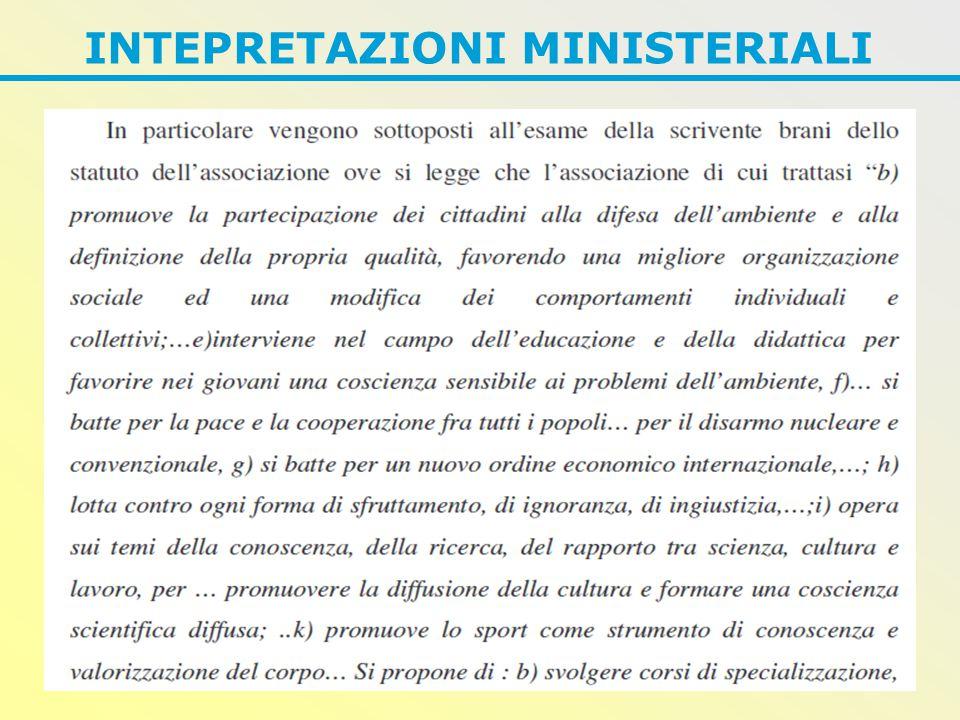 INTEPRETAZIONI MINISTERIALI